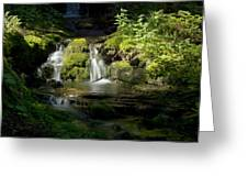 Mossy Rocks Waterfall 1 Greeting Card