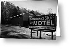 Motel Sign In Black And White Greeting Card