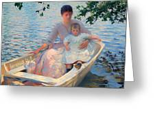 Mother And Child In A Boat Greeting Card