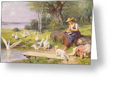 Mother And Child With Geese Greeting Card