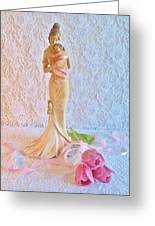 Mother And Child With Pink Tulips Greeting Card