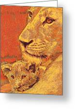 Mother And Cub Greeting Card