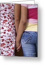 Mother And Daughter Holding Hands Guatemala Greeting Card