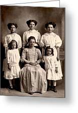 Mother And Daughters Greeting Card