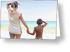 Mother And Son At Beach Greeting Card by Kicka Witte