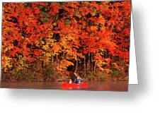 Mother And Son Canoeing Near Fall Greeting Card