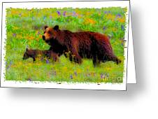 Mother Bear And Cub In Meadow Greeting Card