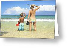 Mother Son Snorkel Greeting Card