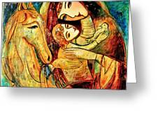 Mother With Child On Horse Greeting Card