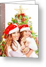 Mother With Daughter Celebrate Christmas Greeting Card by Anna Om