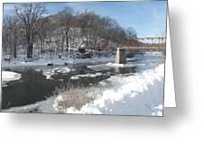 Motor Mill Winter Pano Greeting Card