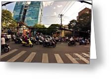 Motorbikes In Traffic Greeting Card