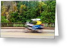 Motorcycle And Green Forest Greeting Card