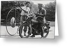 Motorcycle And Velocipede - 1921 Greeting Card