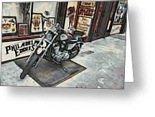 Motorcycle At Philadelphia Eddies Greeting Card