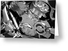 Motorcycle Close-up Bw 2 Greeting Card
