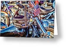Motorcycle Helmet And Flag Greeting Card