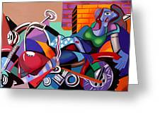 Motorcycle Mama Greeting Card by Anthony Falbo