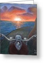 Motorcycle Sunset Greeting Card