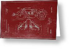 Motorcycle Support Patent Drawing From 1932 3 Greeting Card