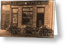 Motorcycles And Furnished Rooms Greeting Card