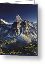 Mount Assiniboine And Sunburst Lake Greeting Card