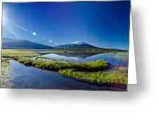 Mount Bachelor Lens Flare Greeting Card