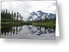 Mount Baker- Lake- Fir Trees And  Fog Greeting Card