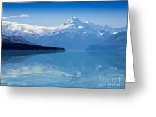 Mount Cook Reflecting In Lake Pukaki Greeting Card
