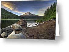 Mount Hood At Trillium Lake Sunset Greeting Card