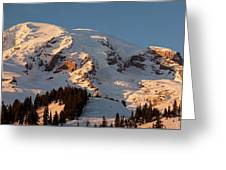 Mount Rainier Alpenglow Greeting Card