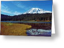 Mount Rainier And Reflection Lake Greeting Card