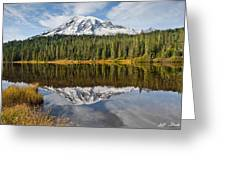Mount Rainier And Reflection Lakes In The Fall Greeting Card
