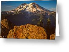 Mount Rainier At Sunset With Big Boulders In Foreground Greeting Card