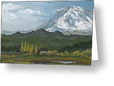 Mount Rainier From Lake Rap John  Greeting Card
