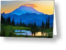 Mount Rainier Goodnight Greeting Card by Inge Johnsson