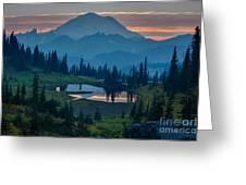 Mount Rainier Layers Greeting Card by Mike Reid