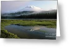 Mount Rainier Shrouded In Fog Greeting Card