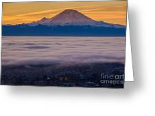 Mount Rainier Sunrise Mood Greeting Card