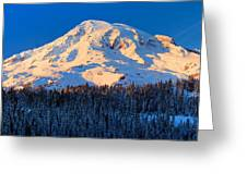 Mount Rainier Winter Evening Greeting Card