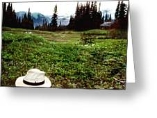 Mount Ranier Cabin Greeting Card