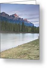 Mount Rundle And The Bow River At Sunrise Greeting Card