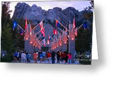 Mount Rushmore At Night Greeting Card