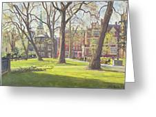 Mount Street Gardens, London Oil On Canvas Greeting Card