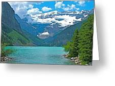 Mount Victoria Rises Above Lake Louise In Banff Np-alberta Greeting Card