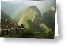 Mountain And Train Below Along Urubamba Greeting Card