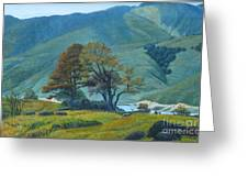 Mountain Behind Fields Greeting Card