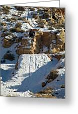 Mountain Biker Jumping With Snowy Greeting Card