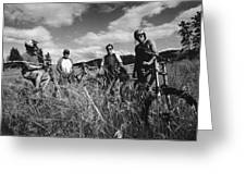 Mountain Bikers In Field Greeting Card