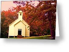 Mountain Church In Fall Greeting Card